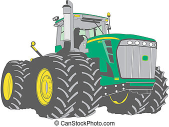 large green farm tractor