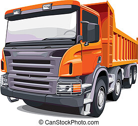 Detailed vectorial image of large orange truck, isolated on white background. No blends and gradients.