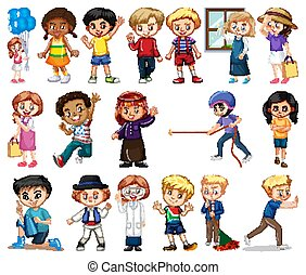 Large set of boys and girls doing different activity on white background