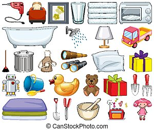 Large set of household items and many toys on white background