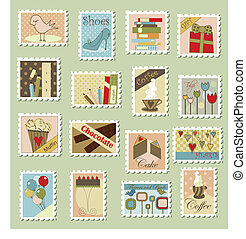 Various postage stamps with different subjects