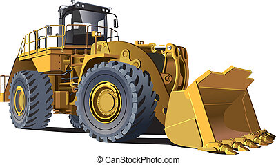 detailed vectorial image of wheel loader for quarrying, isolated on white background. Contains gradients, no blends and strokes.