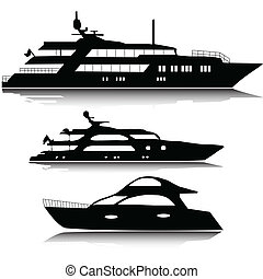 Large yachts vector silhouettes