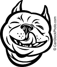 Mascot Illustration of head of laughing Boston terrier, Boston Bull, Boston bull terrier, Boxwood or American gentlemen with tongue out viewed from front done in black and white retro style.