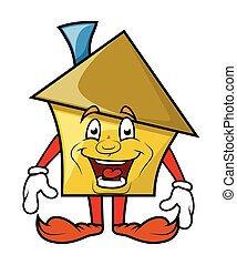 Laughing Cartoon House Character