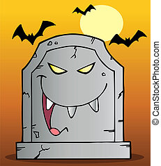 Laughing Evil Tombstone Under Bats On Orange