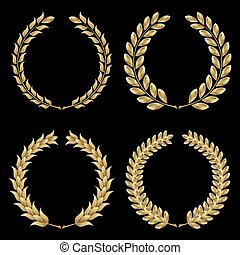 Set from gold laurel wreath on the black background