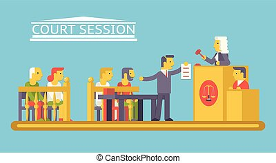 Law Court Justice Scene with characters Defendant Ludge Lawyer Advocate Trendy Modern Flat Design Template Vector Illustration