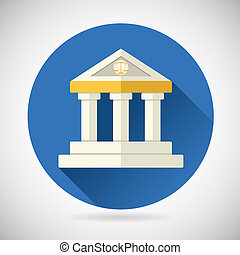 Law Court, Museum or Bank House Symbol Justice, Finance, or History and Knowledge Icon on Stylish Background Modern Flat Design Vector Illustration
