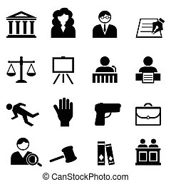 Law, legal, justice and court icon set