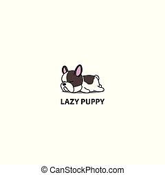 Lazy dog, cute french bulldog puppy sleeping icon, logo design, vector illustration