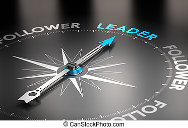 Word leader with a compass needle. Conceptual 3D render image with depth of field blur effect.