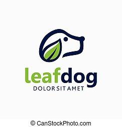 Leaf Dog Logo Premium Design Stock Vector. natural pet care logo Icon