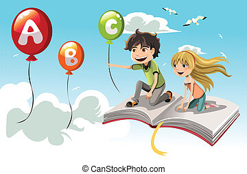 A vector illustration of two kids learning alphabet