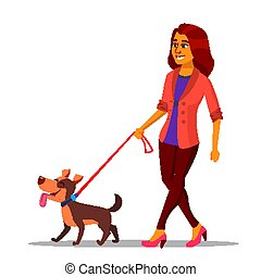 Leash Concept Vector. Woman Walking With Dog On Leash. Illustration