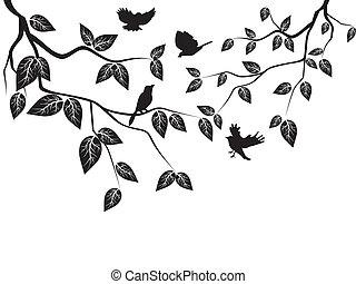 birds flying in the tree