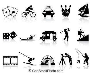 the collection of Leisure and Recreation icons on white background