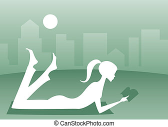 Silhouette of a girl lying in the grass with a good book, a cityscape in the background
