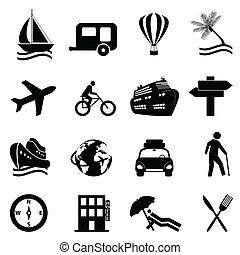 Leisure, travel and recreation icon set on white background
