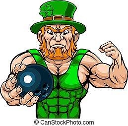 Leprechaun Holding Bowling Ball Sports Mascot