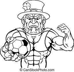 Leprechaun Holding Soccer Ball Sports Mascot