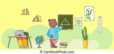 Lesson in school for wild animals. Bear writing chalk at a board. Geometry lesson. Back to school