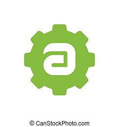 Letter A Logo Combined With Gear, Vector Illustration, Icon Design
