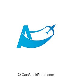 Letter A with plane logo icon design vector illustration