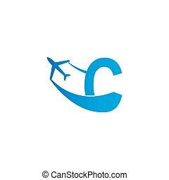 Letter C with plane logo icon design vector illustration