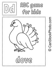 Letter D is for dove. ABC game for kids. Alphabet coloring page. Cartoon character. Word and letter. Vector illustration.