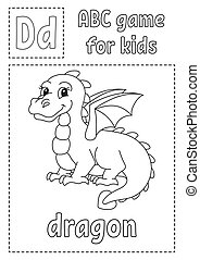 Letter D is for dragon. ABC game for kids. Alphabet coloring page. Cartoon character. Word and letter. Vector illustration.