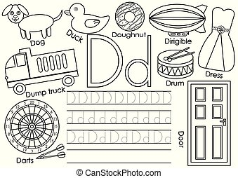 Letter D. Learning English alphabet and writing practice for children. Coloring book. Vector illustration.