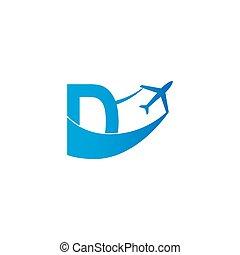 Letter D with plane logo icon design vector illustration