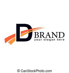 Letter D with swoosh on white background. Logo Design Template. Flat design