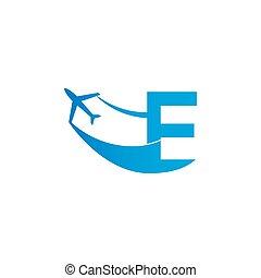 Letter E with plane logo icon design vector illustration