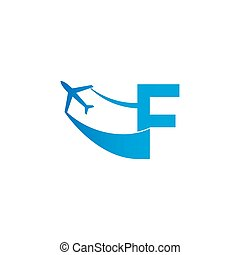 Letter F with plane logo icon design vector illustration