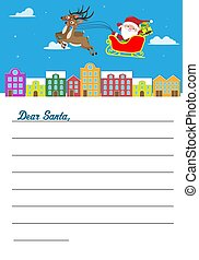 Letter for Santa Claus. Santa Claus flying in sleigh over city.