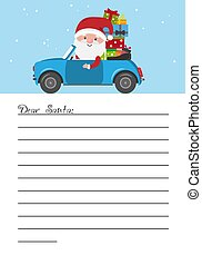 Letter for Santa Claus. Santa Claus in car carrying gifts