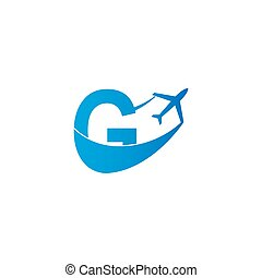 Letter G with plane logo icon design vector illustration