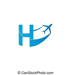 Letter H with plane logo icon design vector illustration
