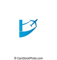 Letter I with plane logo icon design vector illustration