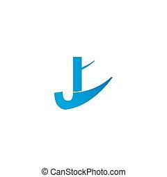 Letter J with plane logo icon design vector illustration