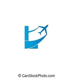 Letter L with plane logo icon design vector illustration