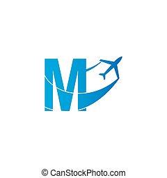 Letter M with plane logo icon design vector illustration