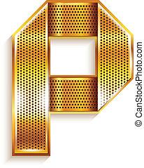 Letter metal gold ribbon - P