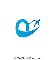 Letter O with plane logo icon design vector illustration
