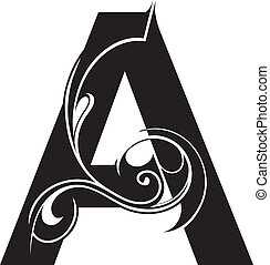 Decorative letter shape isolated. Font type A