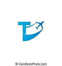 Letter T with plane logo icon design vector illustration
