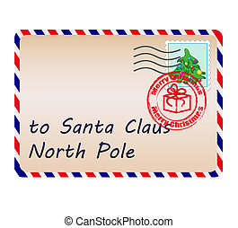 Letter to Santa Claus with stamps