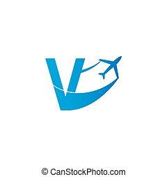 Letter V with plane logo icon design vector illustration
